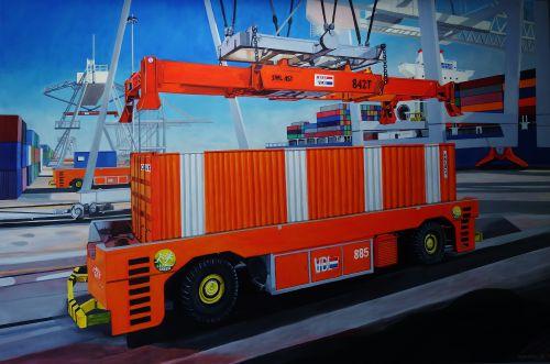 VDL containersystemen (2015), olieverf op doek, 2x3m