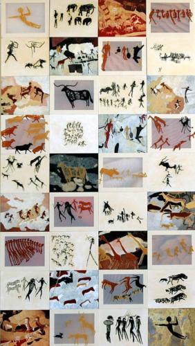 detailfoto kastenwand Rotstekeningen (2005), 10x2,40m